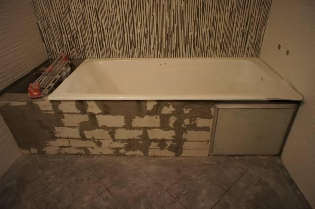 Экран под ванну с полочками и ящиками в виде шкафа