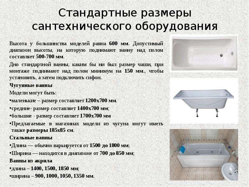 Стандарт высоты ванны от пола с ножками и без — фото и видео