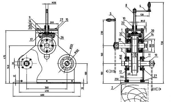 Трубогиб своими руками: разбор конструкций, чертежи, таблицы размеров