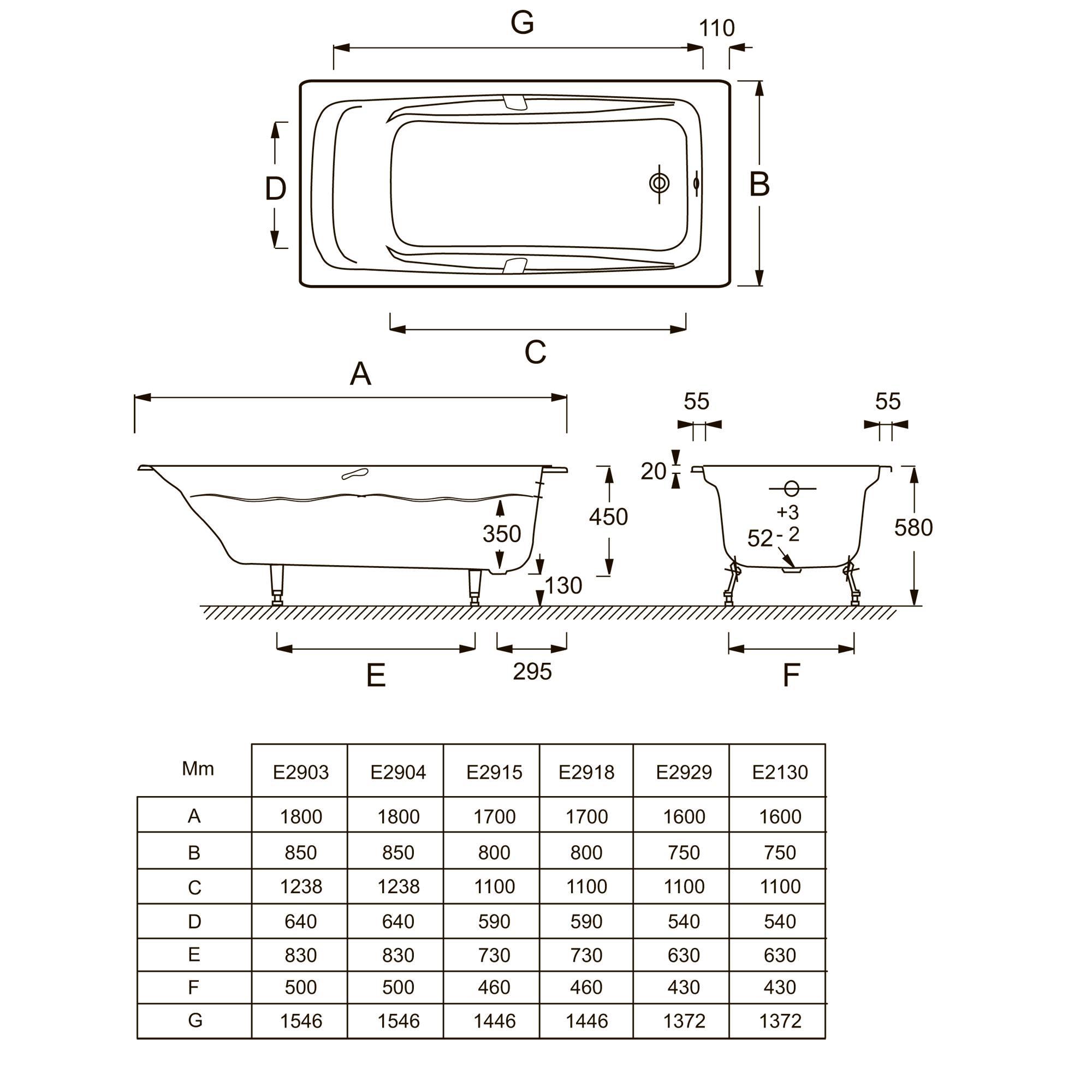 Ширина ванны: стандартные и узкие варианты 50 и 60 см, стандарты по 65 и 80 см, крупногабаритные модели по 100-170 см, какая бывает длина