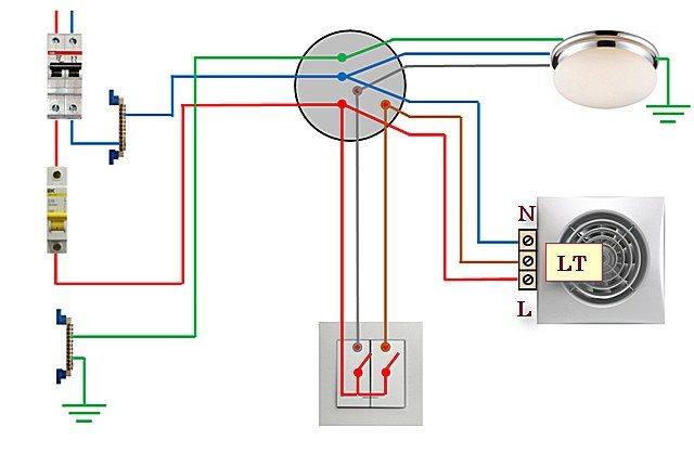 Как грамотно подключить вентилятор в ванной комнате к выключателю: выбор вытяжной системы, схемы подсоединения