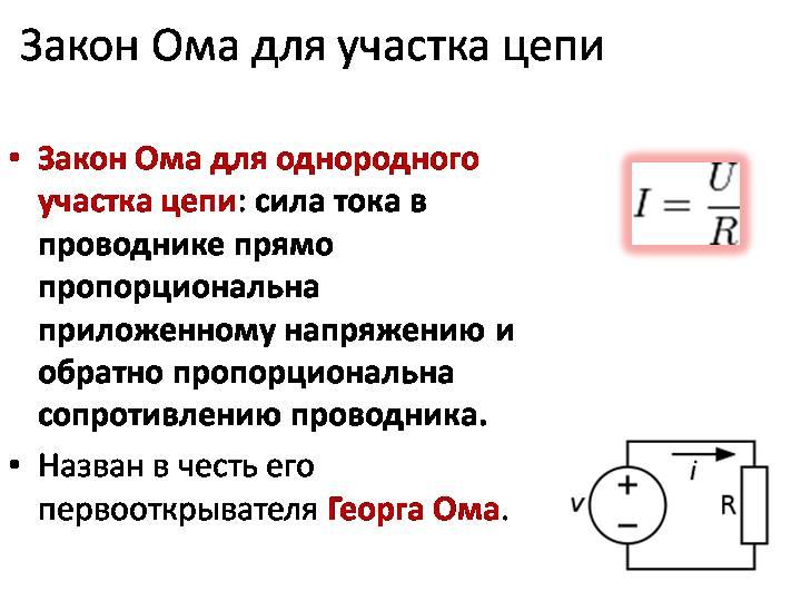 Закон ома для электрической цепи