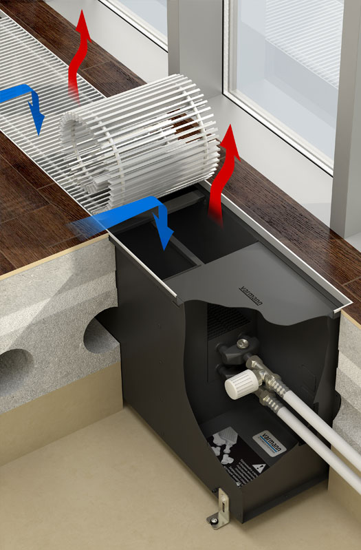 Внутрипольные конвекторы водяного отопления: виды и их характеристики