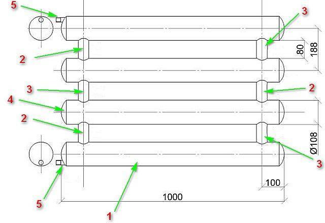 Расчет регистров из гладких труб для отопления