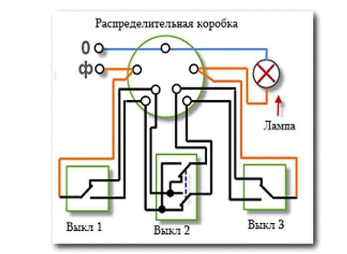 Подключение перекрёстного выключателя