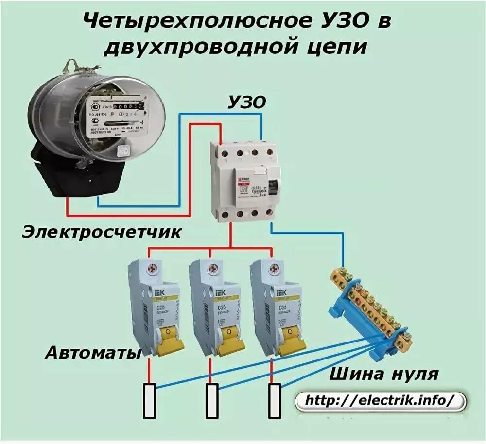 Схема подключения трехфазного узо с заземлением с фото