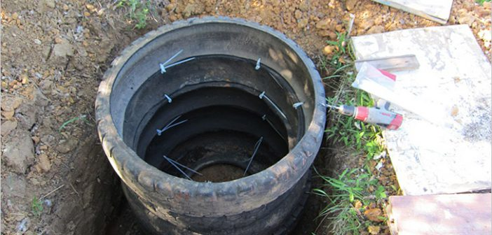 Как сделать канализационную яму из покрышек