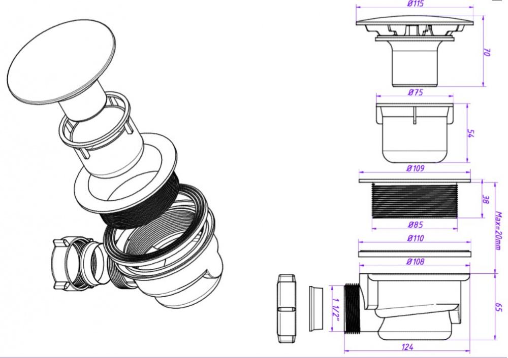 Правильное устройство слива душевой кабины