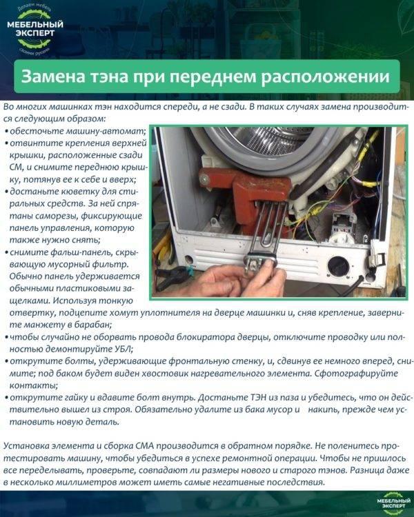 Тэн для стиральной машины: особенности эксплуатации, варианты подбора + инструкция по замене своими руками. топ-лучших производителей!