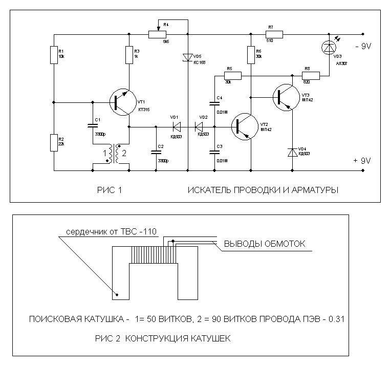 Детектор скрытой проводки своими руками — самые простые схемы