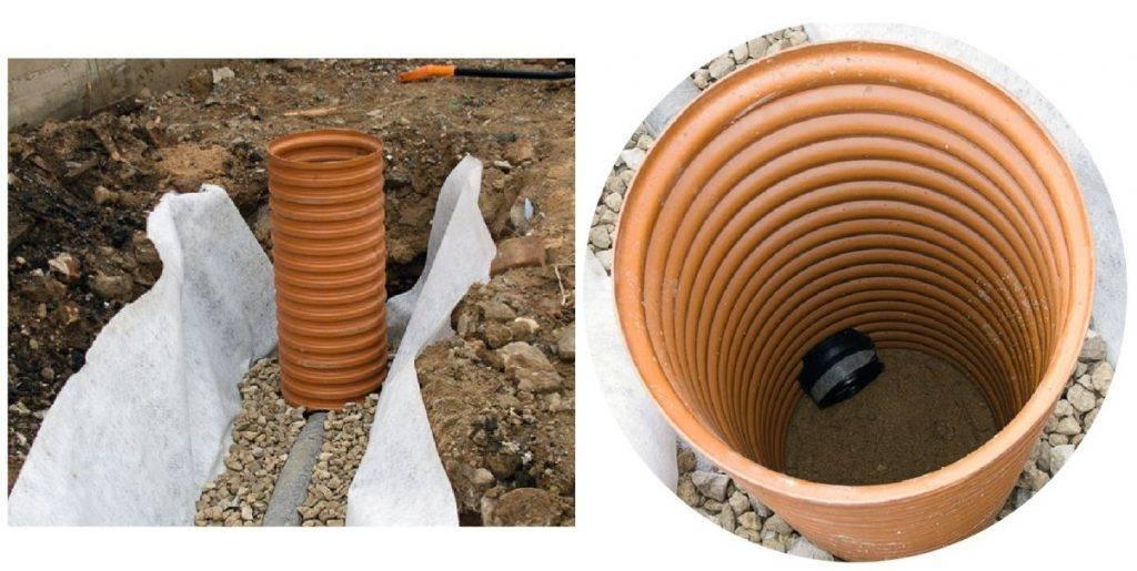 Дренажный смотровой колодец для канализации и его устройство
