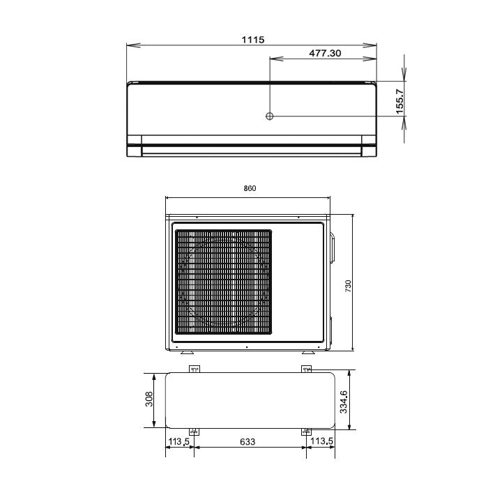 Размер кондиционера – внутренний блок настенной сплит-системы. размеры кондиционеров самсунг кассетный кондиционер полноразмерный размер внутреннего блока