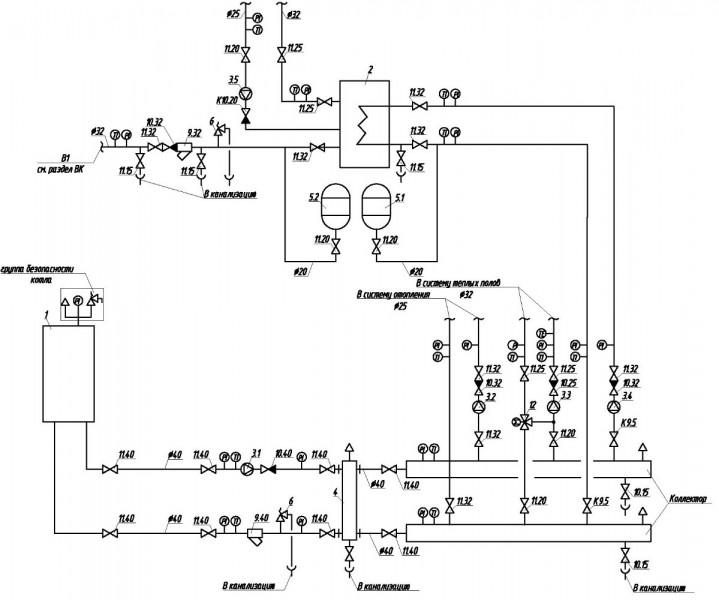 Тепловая схема котельной с водогрейными котлами