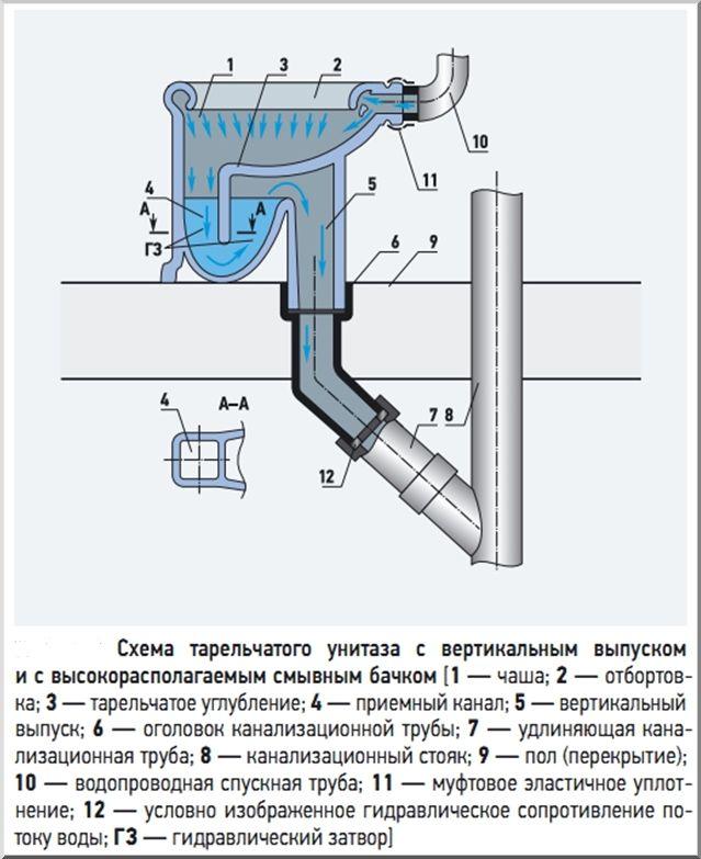 Унитаз с вертикальным выпуском: особенности, порядок установки, правила эксплуатации