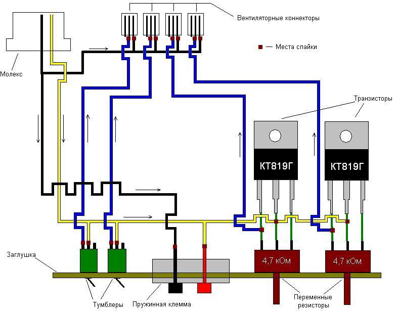 Схема подключения регулятора скорости вентилятора: рассмотрим по полочкам