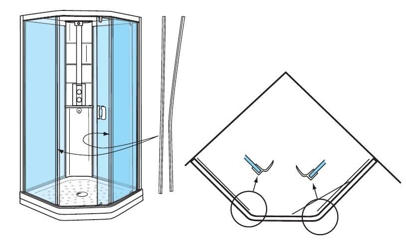 Сборка стекол душевой кабины