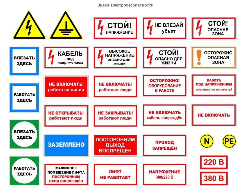 Плакаты по электробезопасности: виды табличек и графических знаков + применение