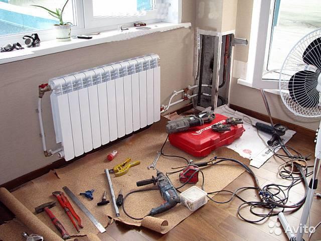 Замена радиатора в системе центрального отопления