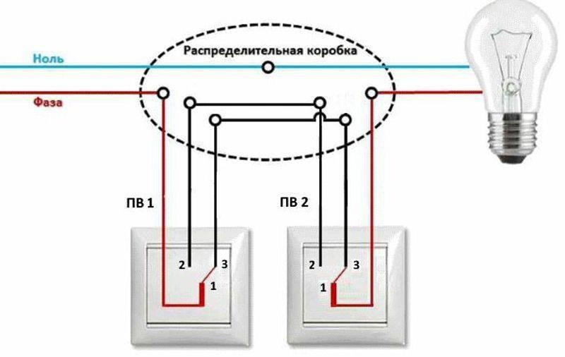 Схема подключения проходного одноклавишного выключателя + фото