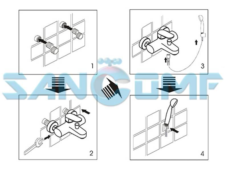 Как правильно установить смеситель в ванной на стену: пошаговая инструкция