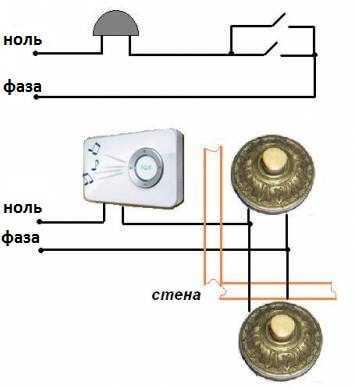 Кнопка звонка схема подключения