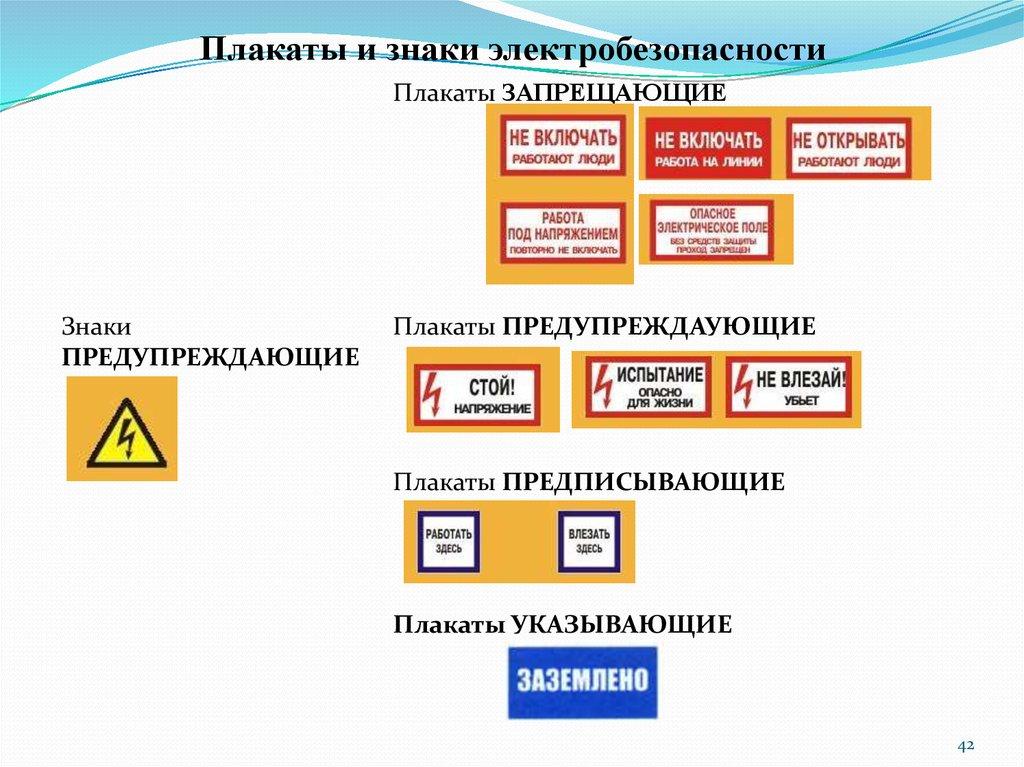 Знаки электробезопасности, плакаты применяемые в электроустановках