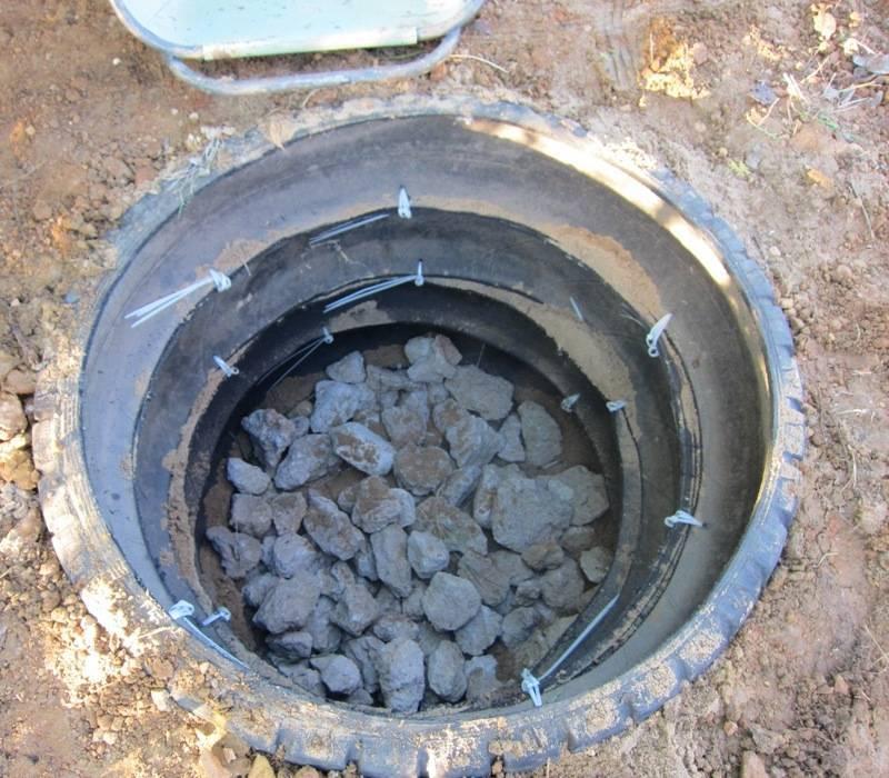 Изготовление сливной ямы из покрышек своими руками