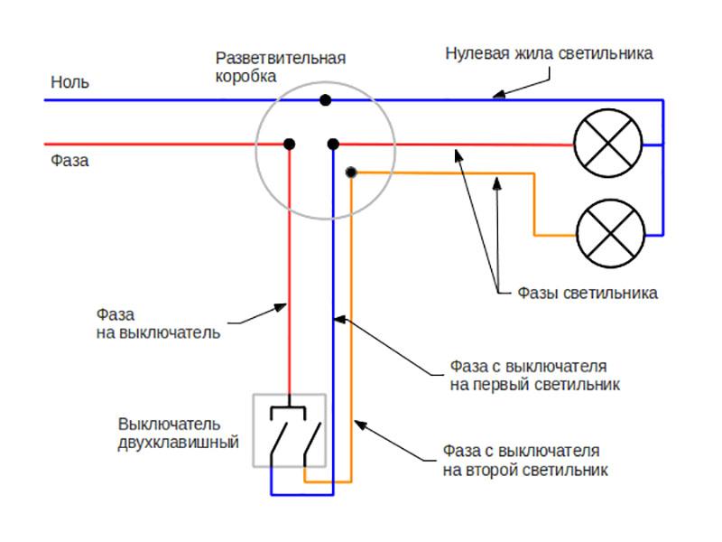 Схема подключения люстры на двухклавишный выключатель: правила