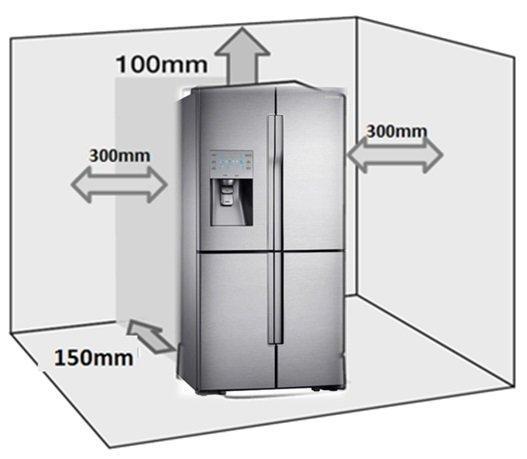 Холодильник рядом с плитой на кухне