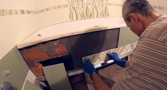 Установка чугунной ванны своими руками — правила и монтаж (фото, видео)