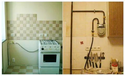 Как спрятать газовые трубы на кухне эффектно и без риска