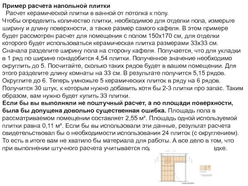 Расчет плитки для ванной, калькулятор площади