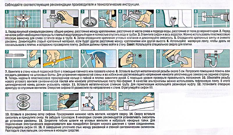 Как установить раковину своими руками