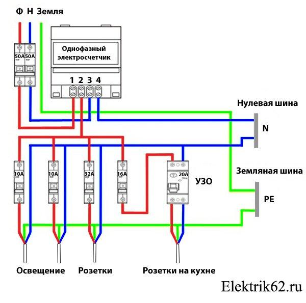 Как подключить однофазный электросчетчик