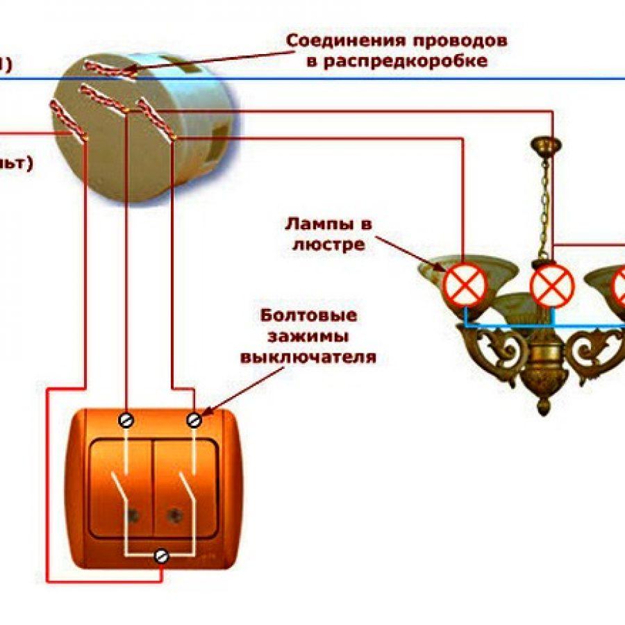 Как подсоединить люстру - схема соединения с двумя и тремя проводами к одноклавишному и двухклавишному выключателю