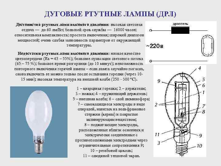 Подключение лампы дрл 250 и дрл 400 и их техничкские характеристики