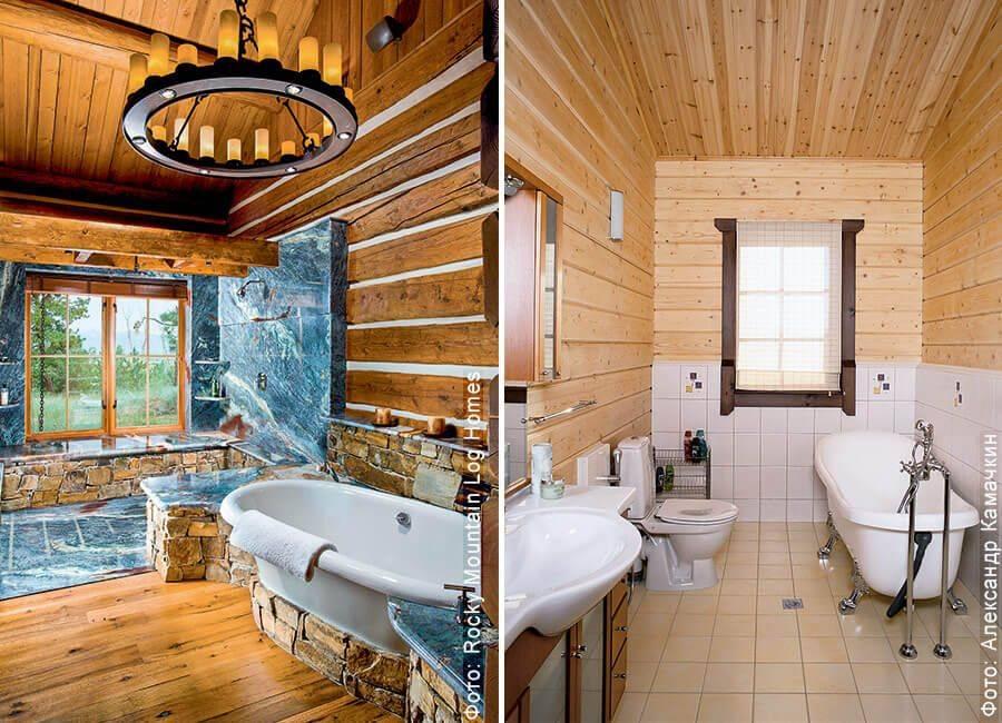 Ванная комната в деревянном доме – правильное обустройство + видео