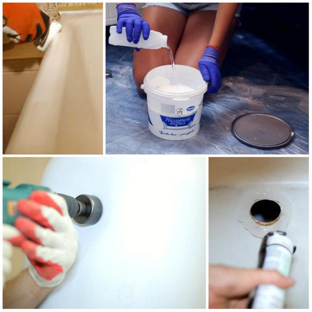 Эмалировка чугунной ванны, восстановление эмали своими руками — пошаговое видео и фото