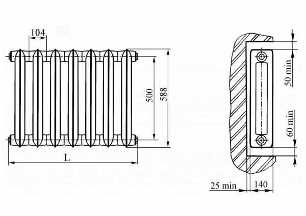 Мощность одной секции чугунного радиатора — основы расчета. жми!