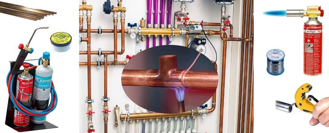 Монтаж медных труб отопления — способы соединения и установки