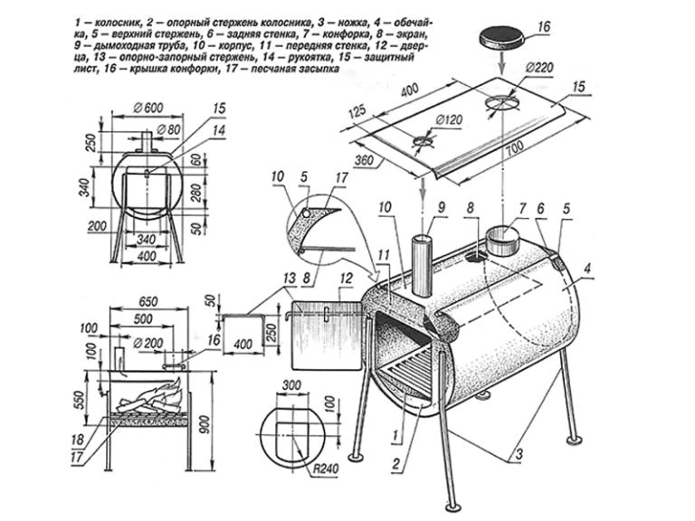 Мангал коптильня из газового баллона своими руками – чертежи, фото и видео