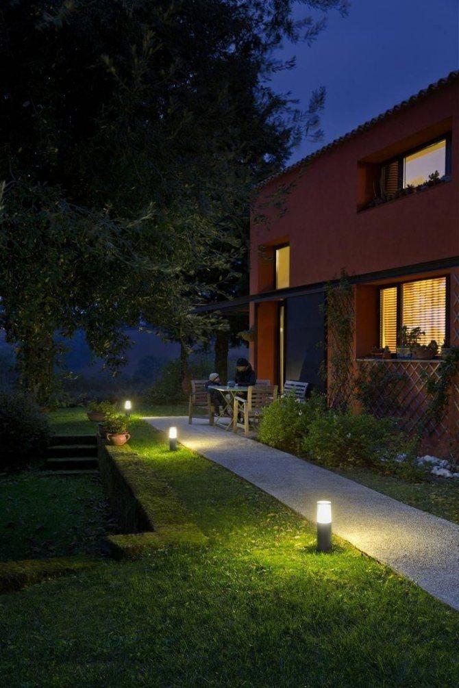Подсветка загородного дома снаружи