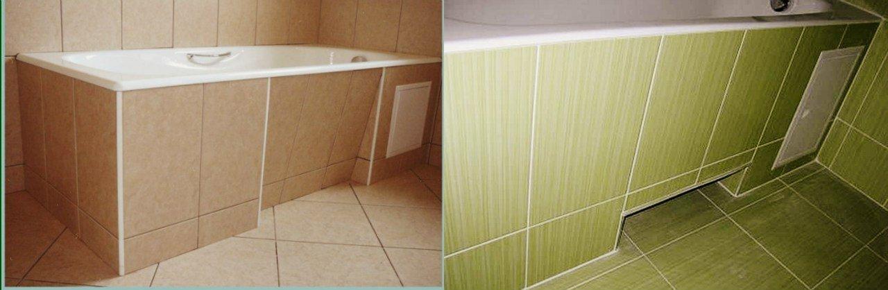 Простой экран на ванну из плитки с потайным люком