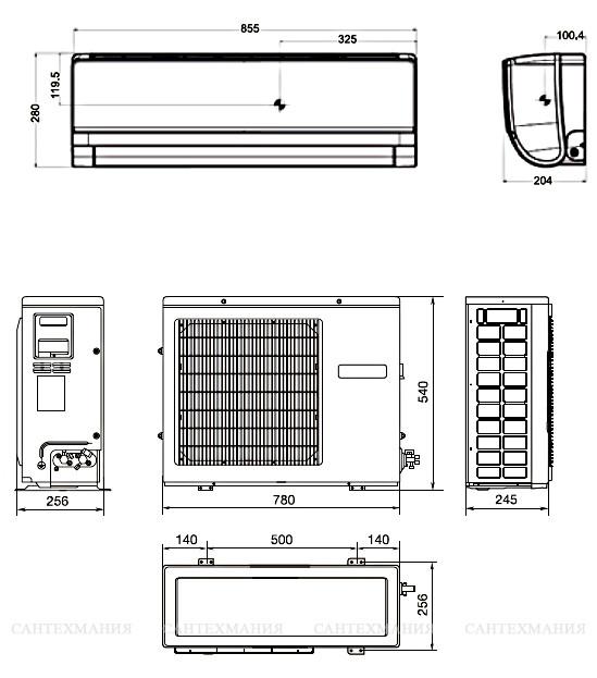Размеры внутреннего блока кондиционера