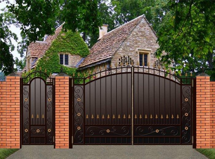Красивые ворота для частного дома - всё о воротах и заборе