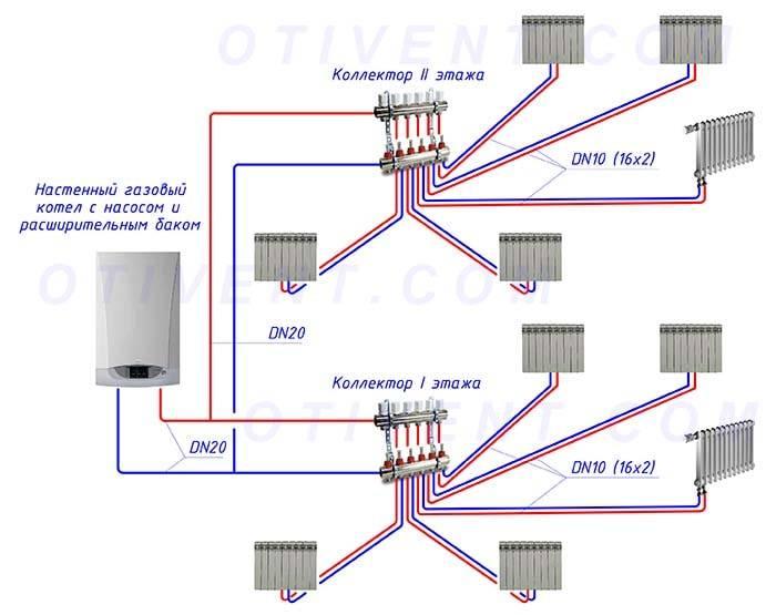 Двухтрубная система отопления частного дома варианты схем, монтаж своими руками