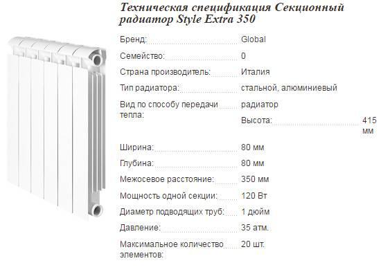 Радиаторы глобал: алюминиевые и биметаллические, модельный ряд, технические характеристики и отзывы пользователей