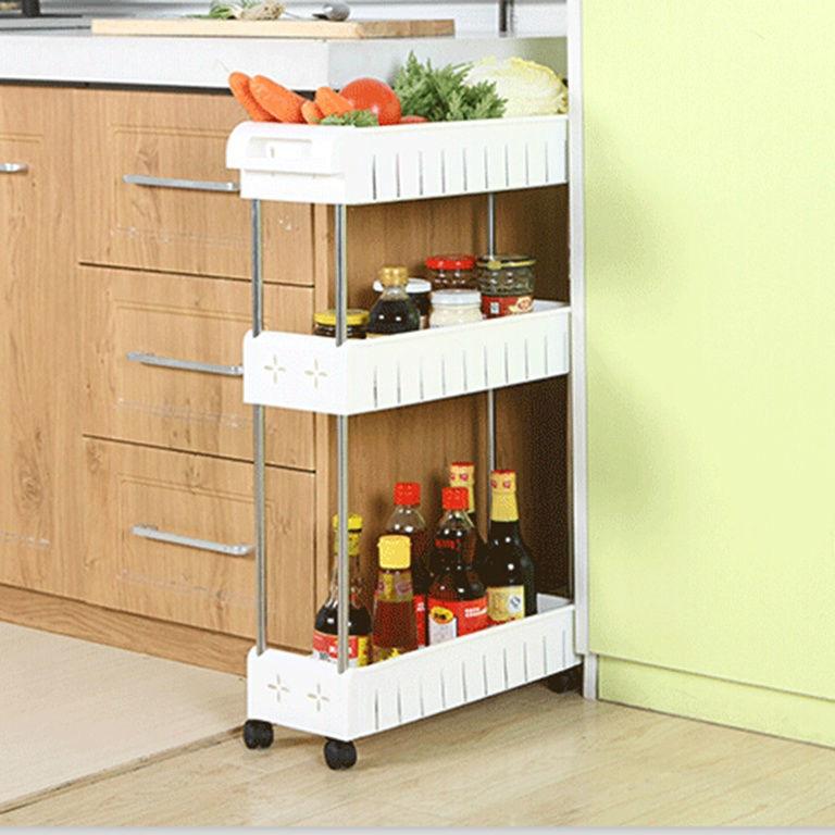 Узкая полка на колесах для кухни и металлические угловые этажерки