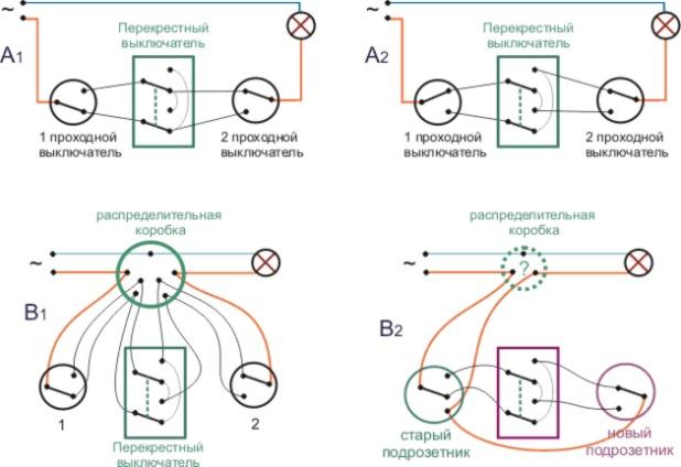 Проходной выключатель — схема подключения на две точки