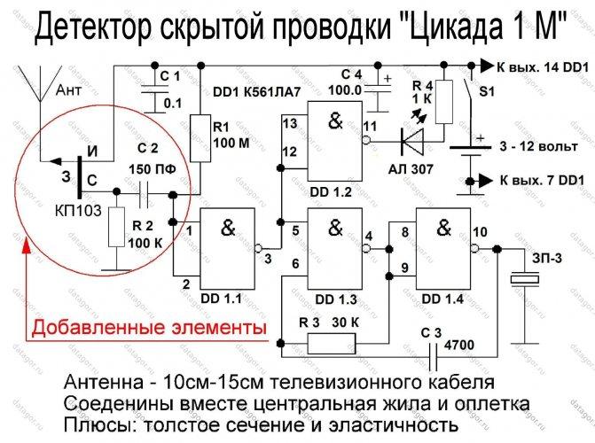 Искатель скрытой проводки своими руками. схема,видео,фото